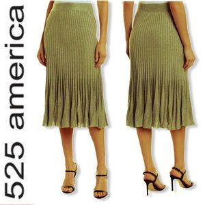 🆕 525 AMERICA FLARE RIBBED OLIVE SWEATER SKIRT L